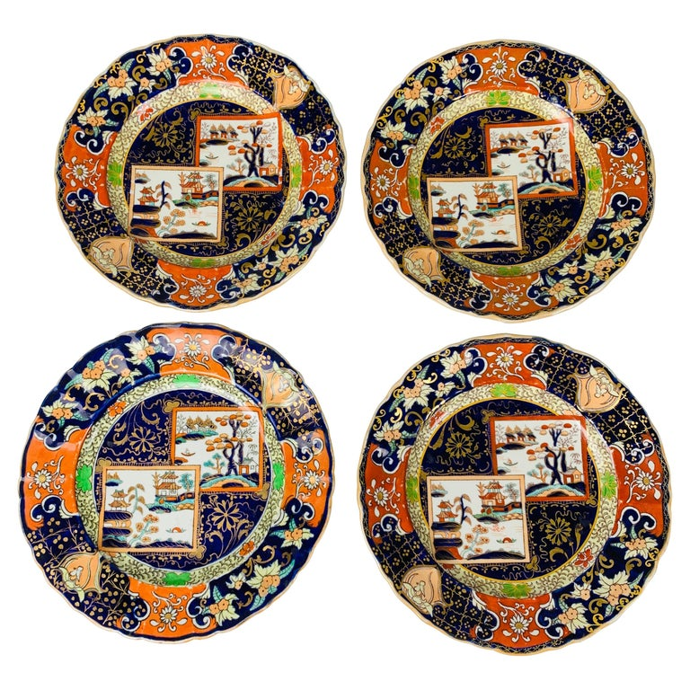 Set of Four Mason's Ironstone Plates in Chinoiserie Style Made England 1834-1842 For Sale
