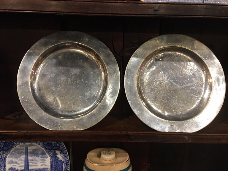18th Century and Earlier Set of Four Matched English Polished Pewter Plates, 18th Century For Sale