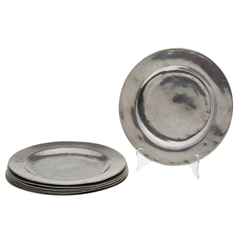 Set of Four Matched English Polished Pewter Plates, 18th Century