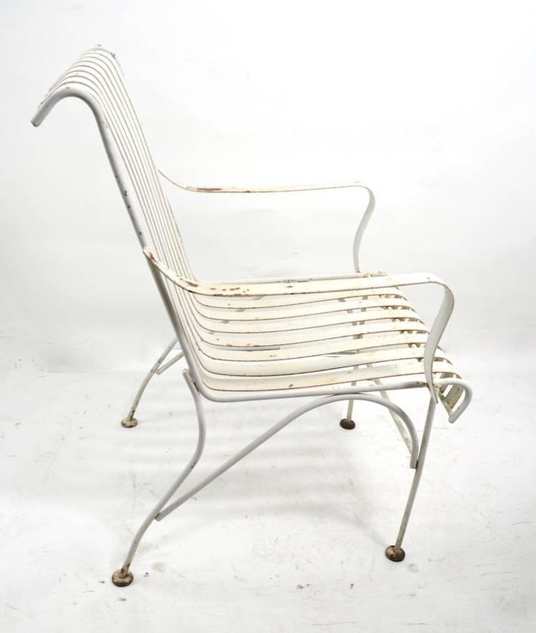 Set of Four Matching Garden Patio Metal Armchairs 2