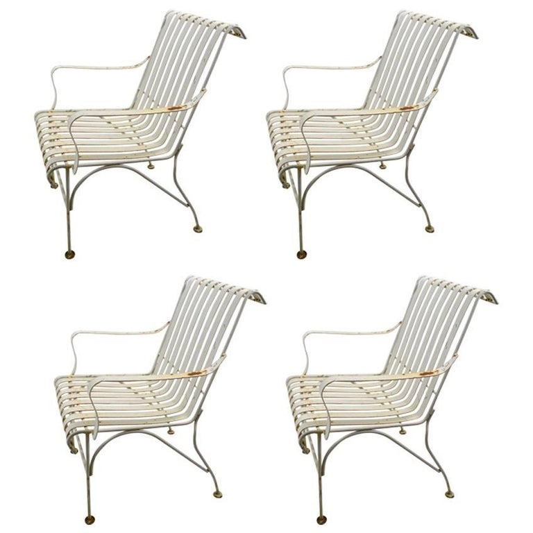 Set of Four Matching Garden Patio Metal Armchairs For Sale