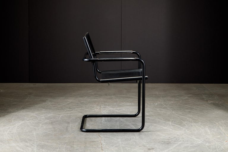 Set of Four Matteo Grassi 'MG Visitor' Black Leather Armchairs, c. 1980, Signed For Sale 5