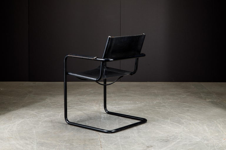 Set of Four Matteo Grassi 'MG Visitor' Black Leather Armchairs, c. 1980, Signed For Sale 6