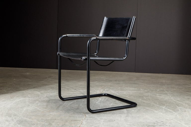 Set of Four Matteo Grassi 'MG Visitor' Black Leather Armchairs, c. 1980, Signed For Sale 7