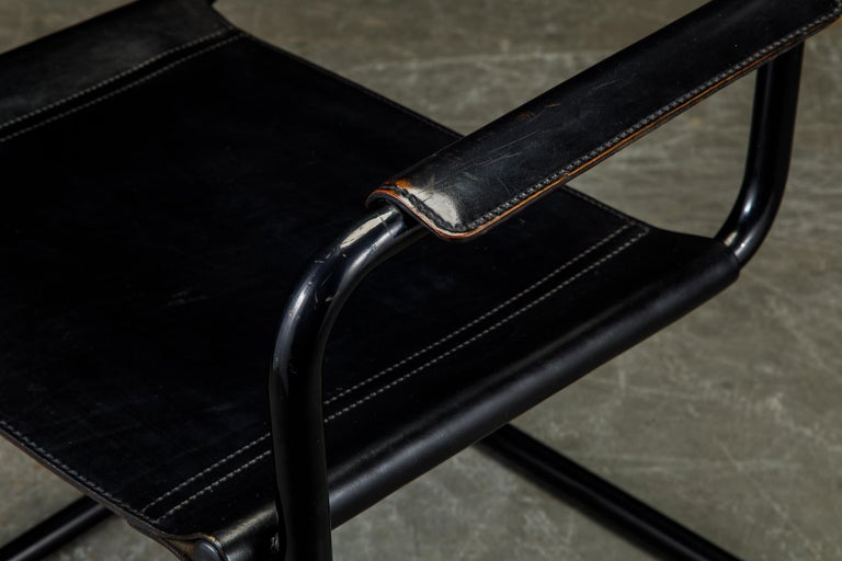 Set of Four Matteo Grassi 'MG Visitor' Black Leather Armchairs, c. 1980, Signed For Sale 10