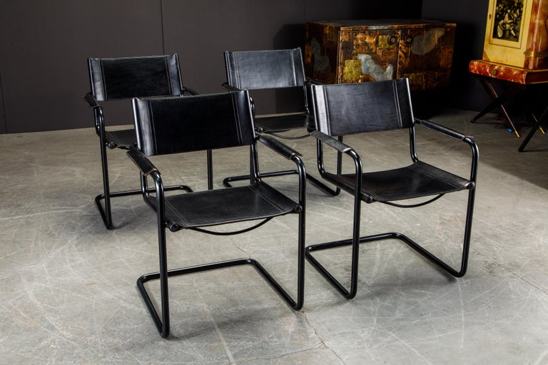Mid-Century Modern Set of Four Matteo Grassi 'MG Visitor' Black Leather Armchairs, c. 1980, Signed For Sale