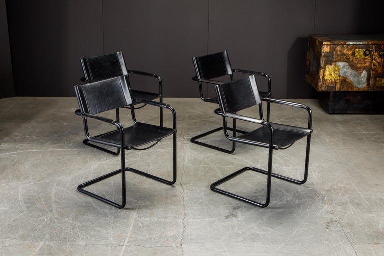 Italian Set of Four Matteo Grassi 'MG Visitor' Black Leather Armchairs, c. 1980, Signed For Sale