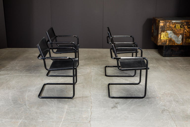 Set of Four Matteo Grassi 'MG Visitor' Black Leather Armchairs, c. 1980, Signed In Good Condition For Sale In Los Angeles, CA