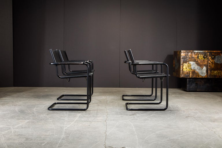 Late 20th Century Set of Four Matteo Grassi 'MG Visitor' Black Leather Armchairs, c. 1980, Signed For Sale