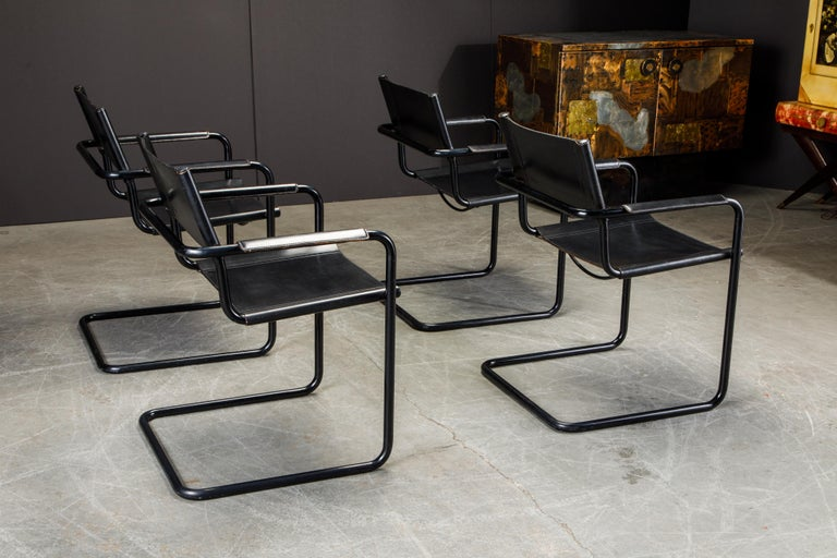 Set of Four Matteo Grassi 'MG Visitor' Black Leather Armchairs, c. 1980, Signed For Sale 1