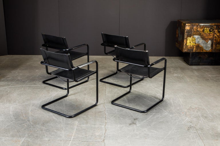 Set of Four Matteo Grassi 'MG Visitor' Black Leather Armchairs, c. 1980, Signed For Sale 2