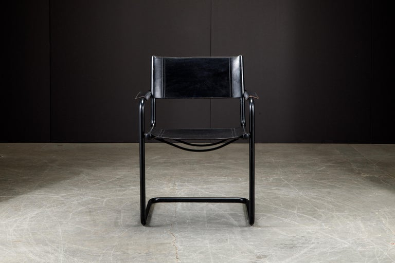 Set of Four Matteo Grassi 'MG Visitor' Black Leather Armchairs, c. 1980, Signed For Sale 3