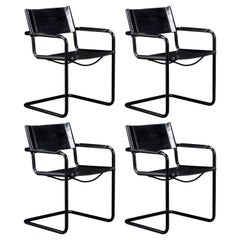 Set of Four Matteo Grassi 'MG Visitor' Black Leather Armchairs, c. 1980, Signed