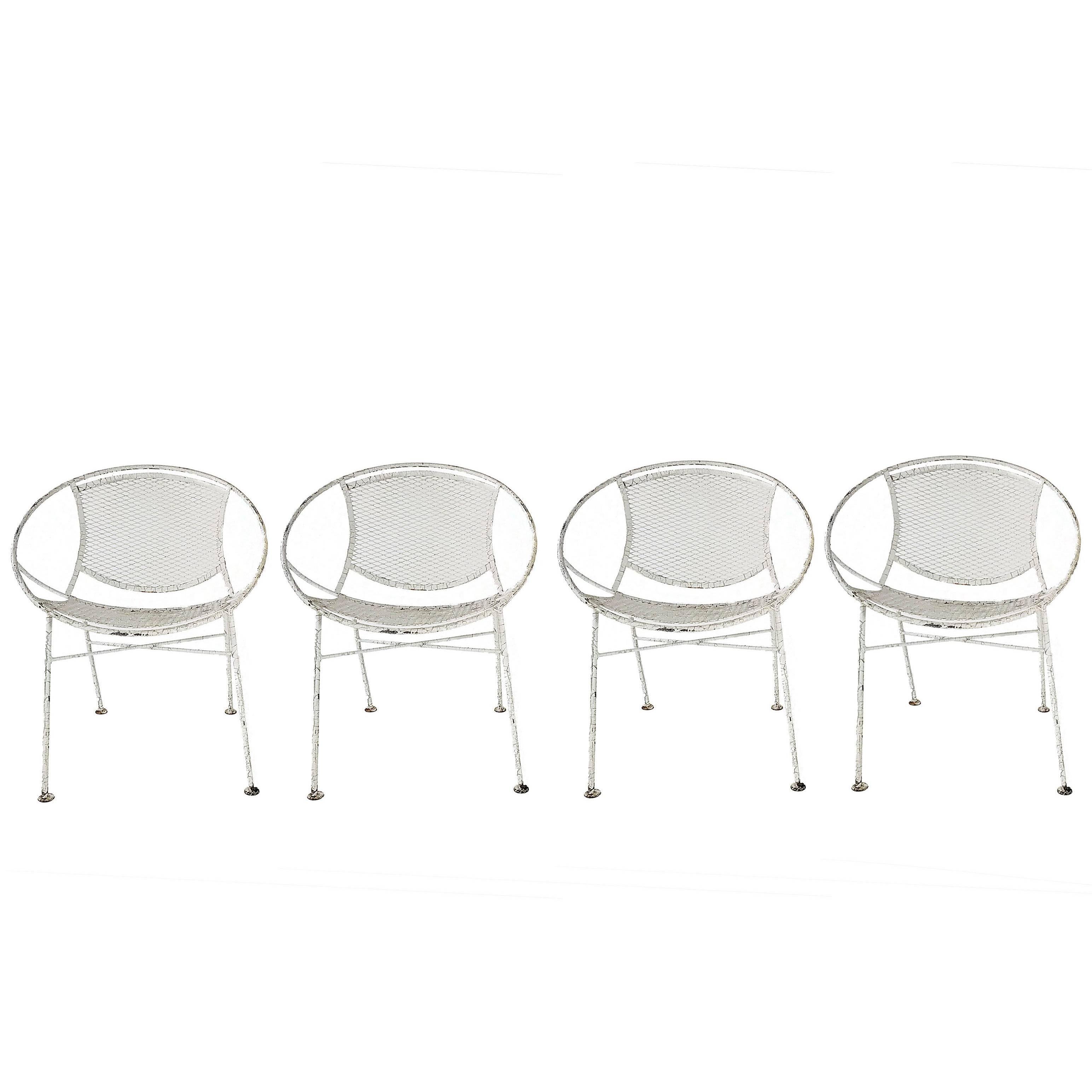 Set of Four Maurizio Tempestini for Salterini Hoop Lounge Patio Chairs