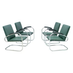 Set of Four Mauser RS 7 Cantilever Steel Tube Lounge Chairs, Germany, 1935