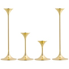 Set of Four Max Brüel 'Jazz' Candleholders, Steel with Brass Plating