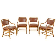 Set of Four McGuire Bamboo Rattan Leather Dining Armchairs
