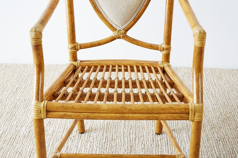 Set of Four McGuire Bamboo Rattan Linen Dining Armchairs  For Sale 3