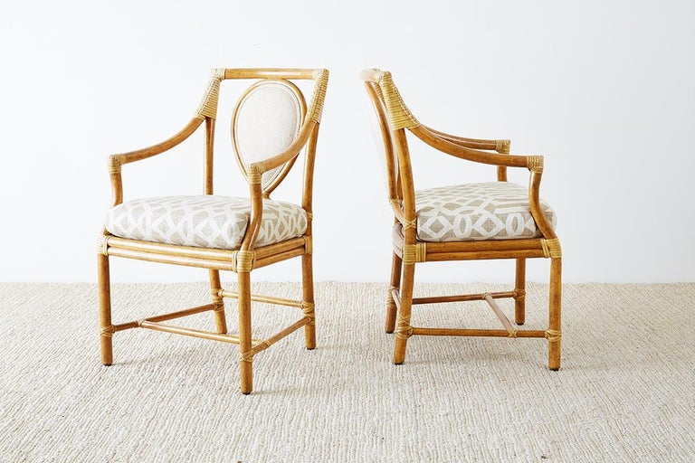 Set of Four McGuire Bamboo Rattan Linen Dining Armchairs  For Sale 5