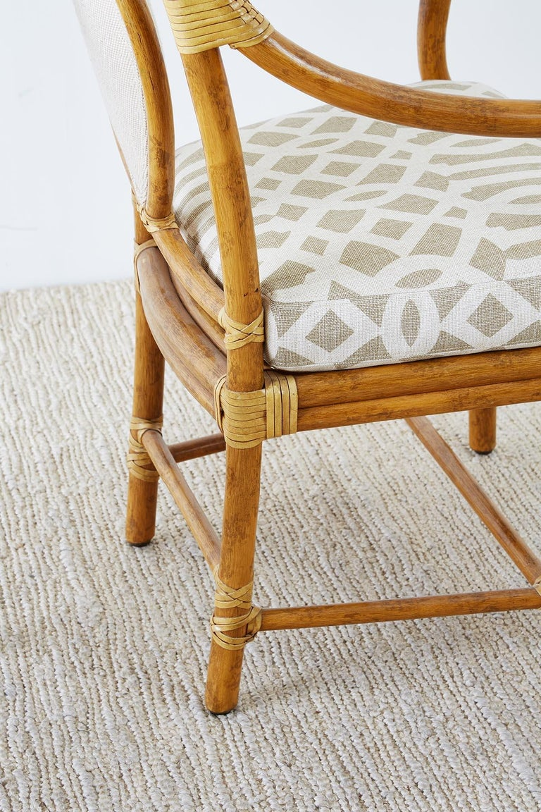 Set of Four McGuire Bamboo Rattan Linen Dining Armchairs  For Sale 7