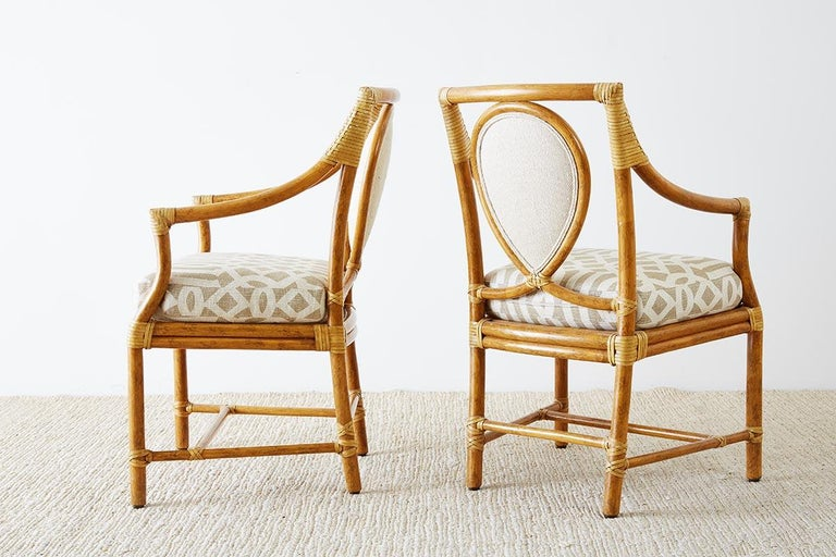 Set of Four McGuire Bamboo Rattan Linen Dining Armchairs  For Sale 8