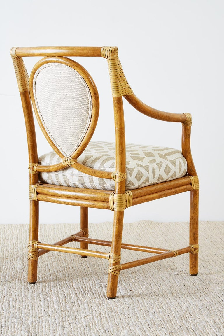 Set of Four McGuire Bamboo Rattan Linen Dining Armchairs  For Sale 9