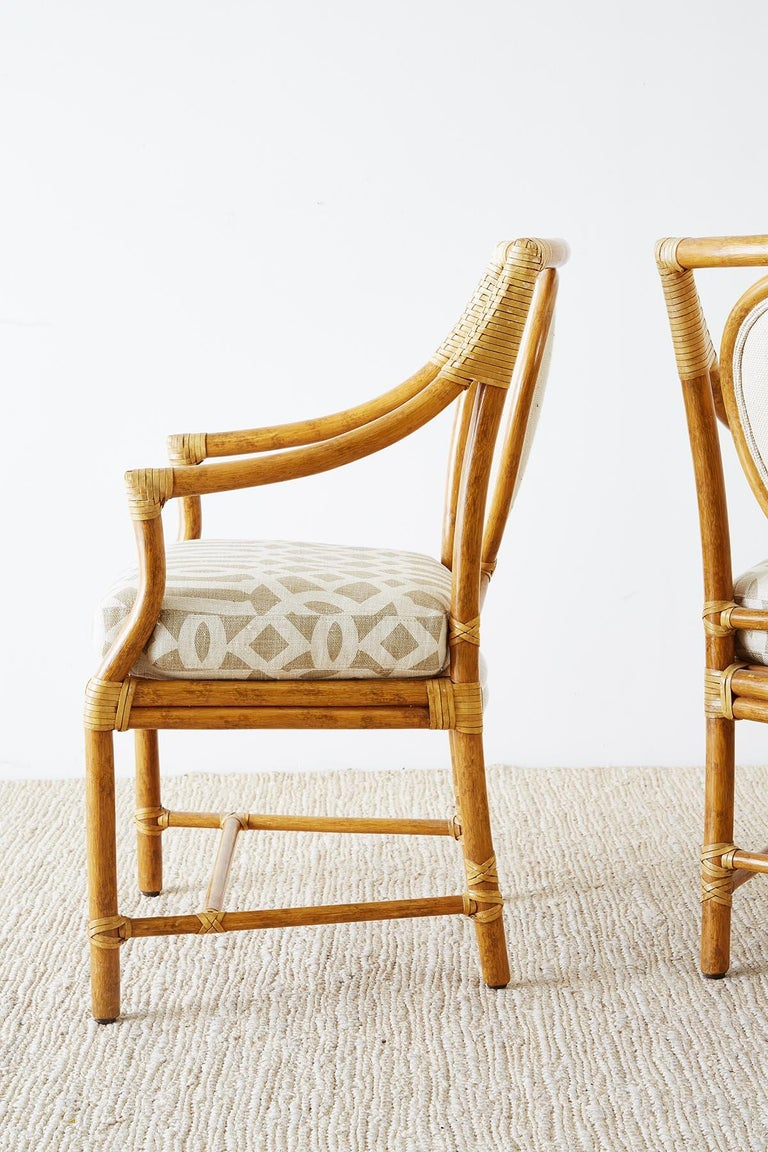 Set of Four McGuire Bamboo Rattan Linen Dining Armchairs  For Sale 11