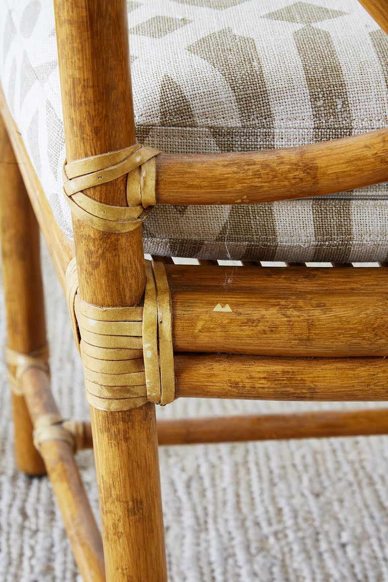 Set of Four McGuire Bamboo Rattan Linen Dining Armchairs  For Sale 12