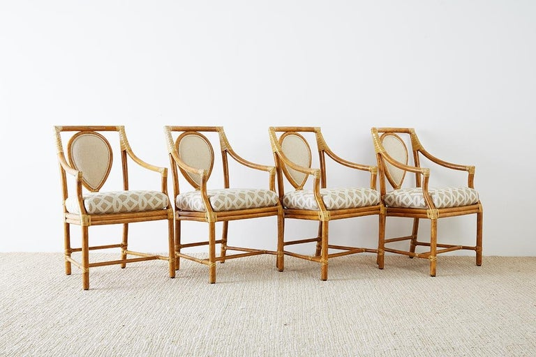 Organic Modern Set of Four McGuire Bamboo Rattan Linen Dining Armchairs  For Sale