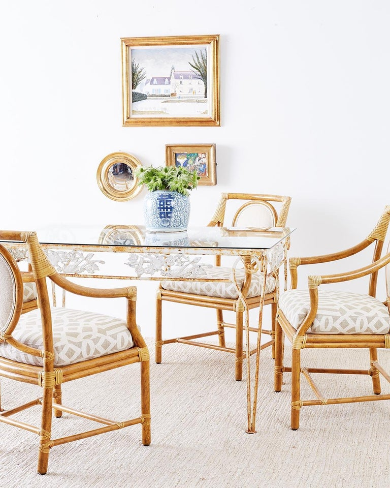 American Set of Four McGuire Bamboo Rattan Linen Dining Armchairs  For Sale