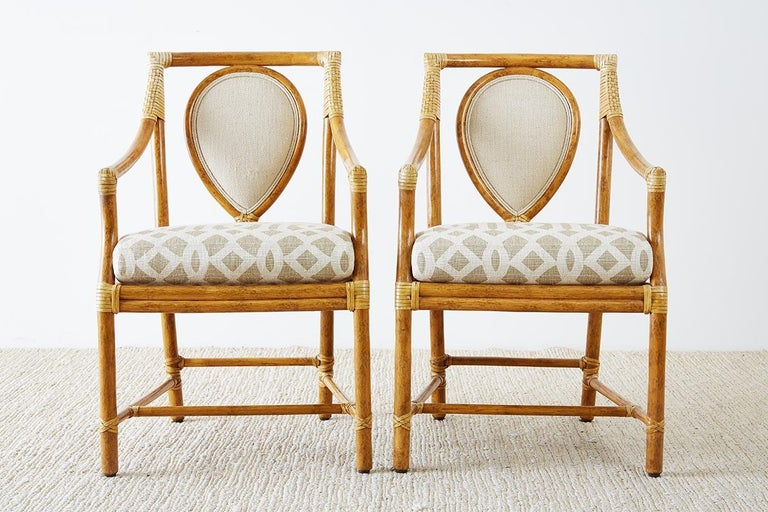 Hand-Crafted Set of Four McGuire Bamboo Rattan Linen Dining Armchairs  For Sale