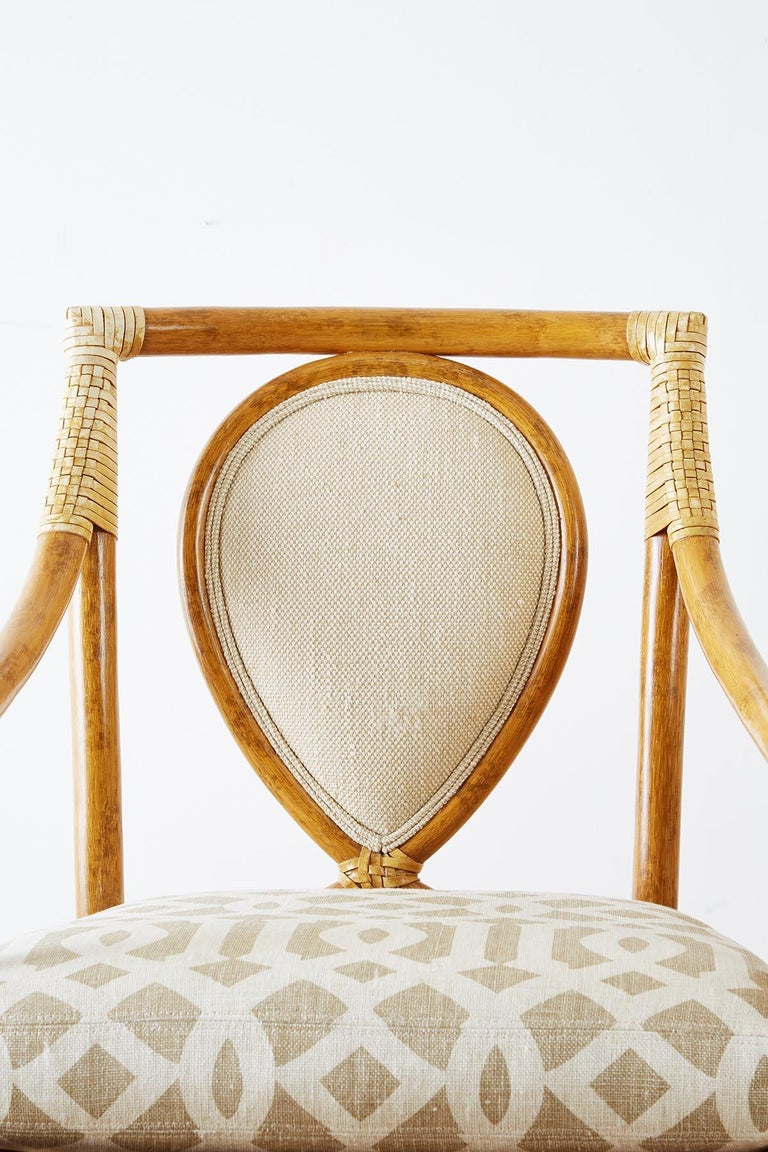 Set of Four McGuire Bamboo Rattan Linen Dining Armchairs  In Good Condition For Sale In Oakland, CA