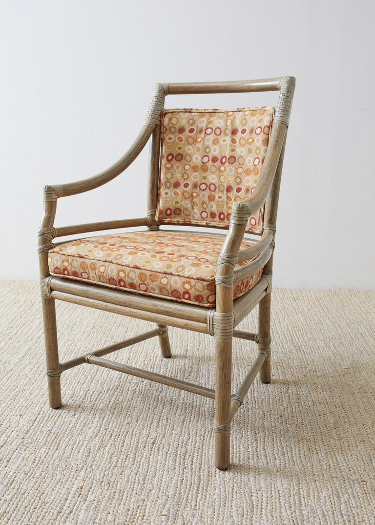 Set of Four McGuire Bamboo Rattan Target Dining Chairs For Sale 4