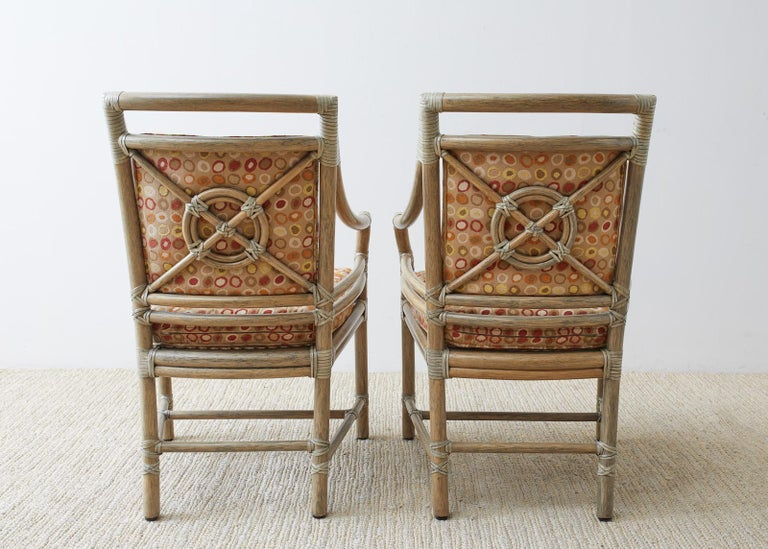 Set of Four McGuire Bamboo Rattan Target Dining Chairs For Sale 10