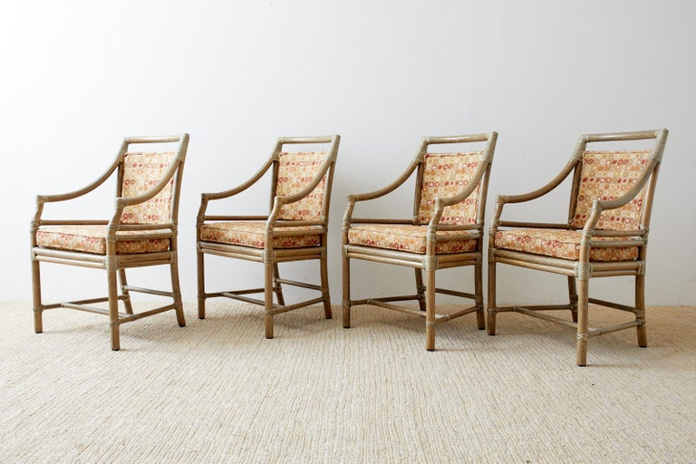 Organic Modern Set of Four McGuire Bamboo Rattan Target Dining Chairs For Sale