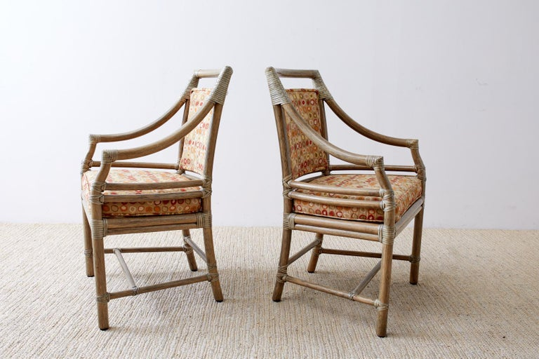 American Set of Four McGuire Bamboo Rattan Target Dining Chairs For Sale