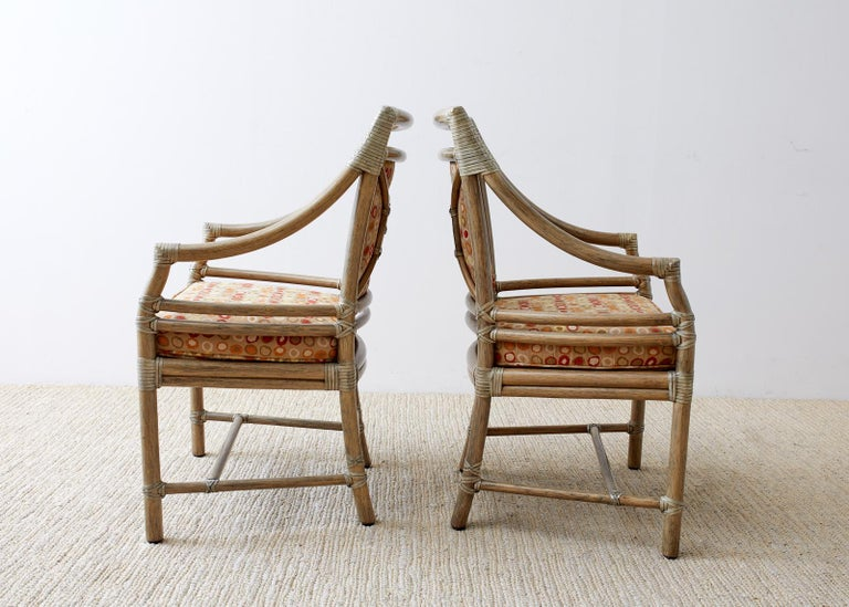 Hand-Crafted Set of Four McGuire Bamboo Rattan Target Dining Chairs For Sale