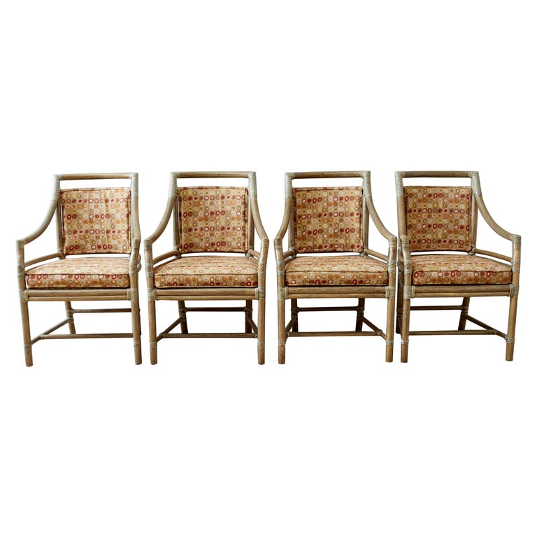 Set of Four McGuire Bamboo Rattan Target Dining Chairs For Sale