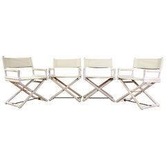 Set of Four McGuire Campaign Style Cerused Directors Chairs