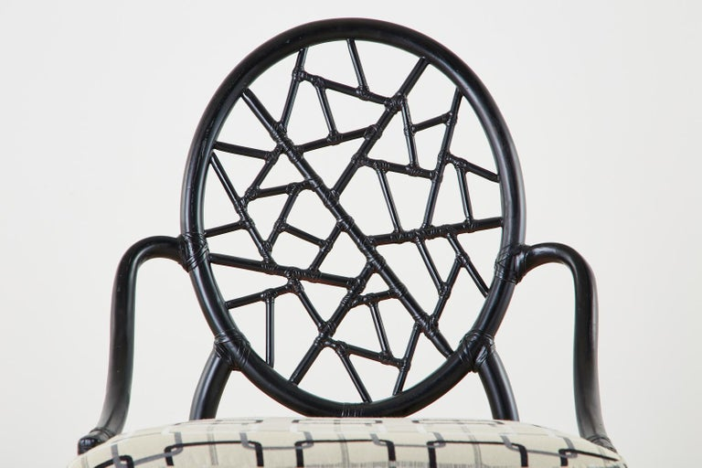 Set of Four McGuire Cracked Ice Rattan Cane Dining Chairs For Sale 2