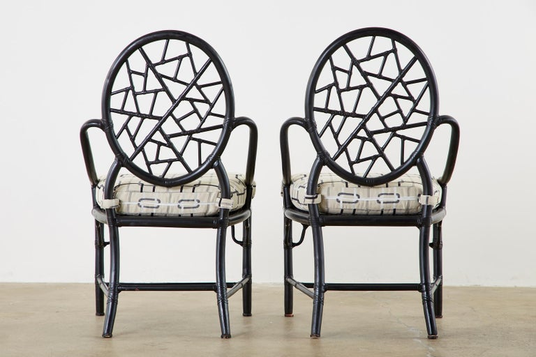 Set of Four McGuire Cracked Ice Rattan Cane Dining Chairs For Sale 12