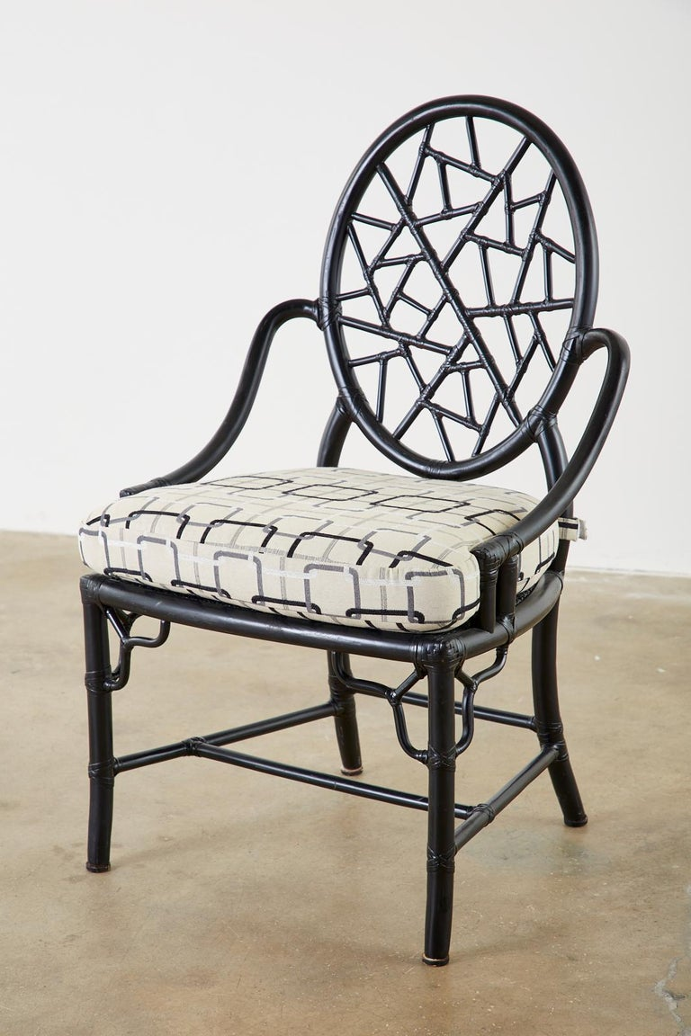 Organic Modern Set of Four McGuire Cracked Ice Rattan Cane Dining Chairs For Sale