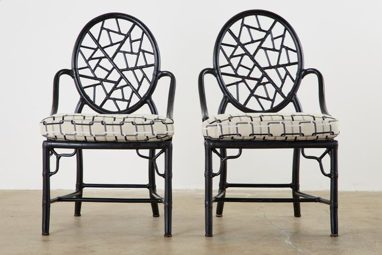 American Set of Four McGuire Cracked Ice Rattan Cane Dining Chairs For Sale