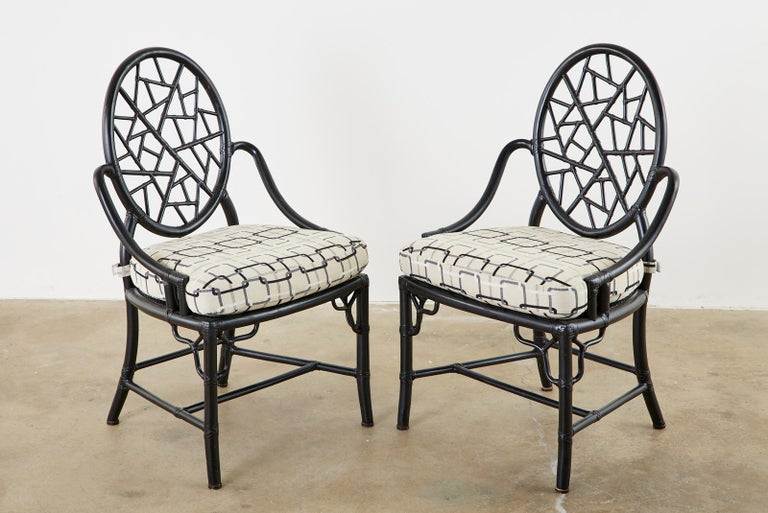 Lacquered Set of Four McGuire Cracked Ice Rattan Cane Dining Chairs For Sale