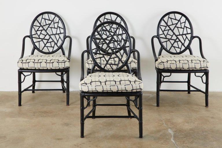 Set of Four McGuire Cracked Ice Rattan Cane Dining Chairs In Good Condition For Sale In Rio Vista, CA