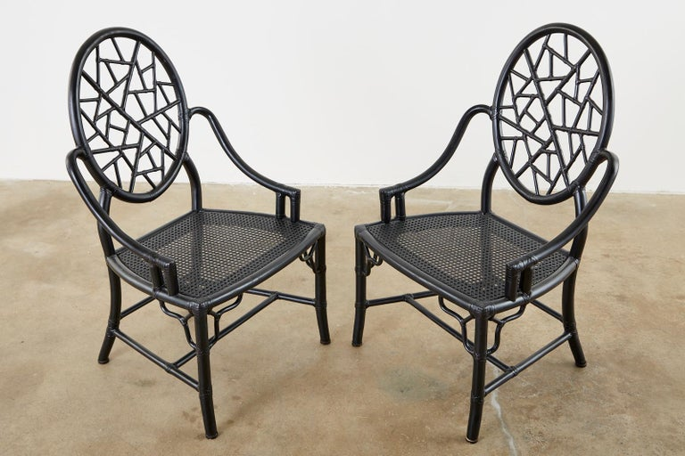 20th Century Set of Four McGuire Cracked Ice Rattan Cane Dining Chairs For Sale