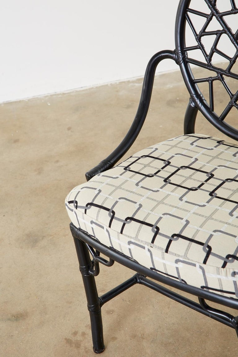 Set of Four McGuire Cracked Ice Rattan Cane Dining Chairs For Sale 1