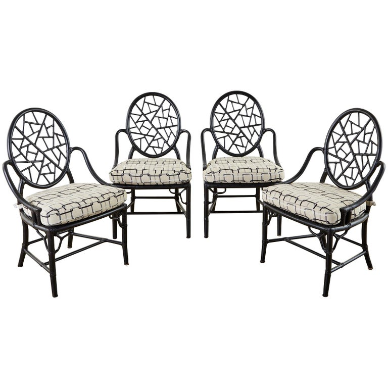 Set of Four McGuire Cracked Ice Rattan Cane Dining Chairs For Sale