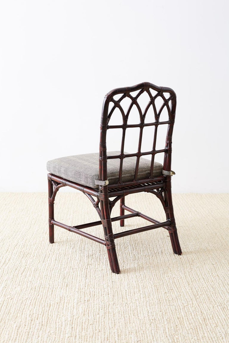 Set of Four McGuire Lacquered Bamboo Dining Chairs For Sale 4