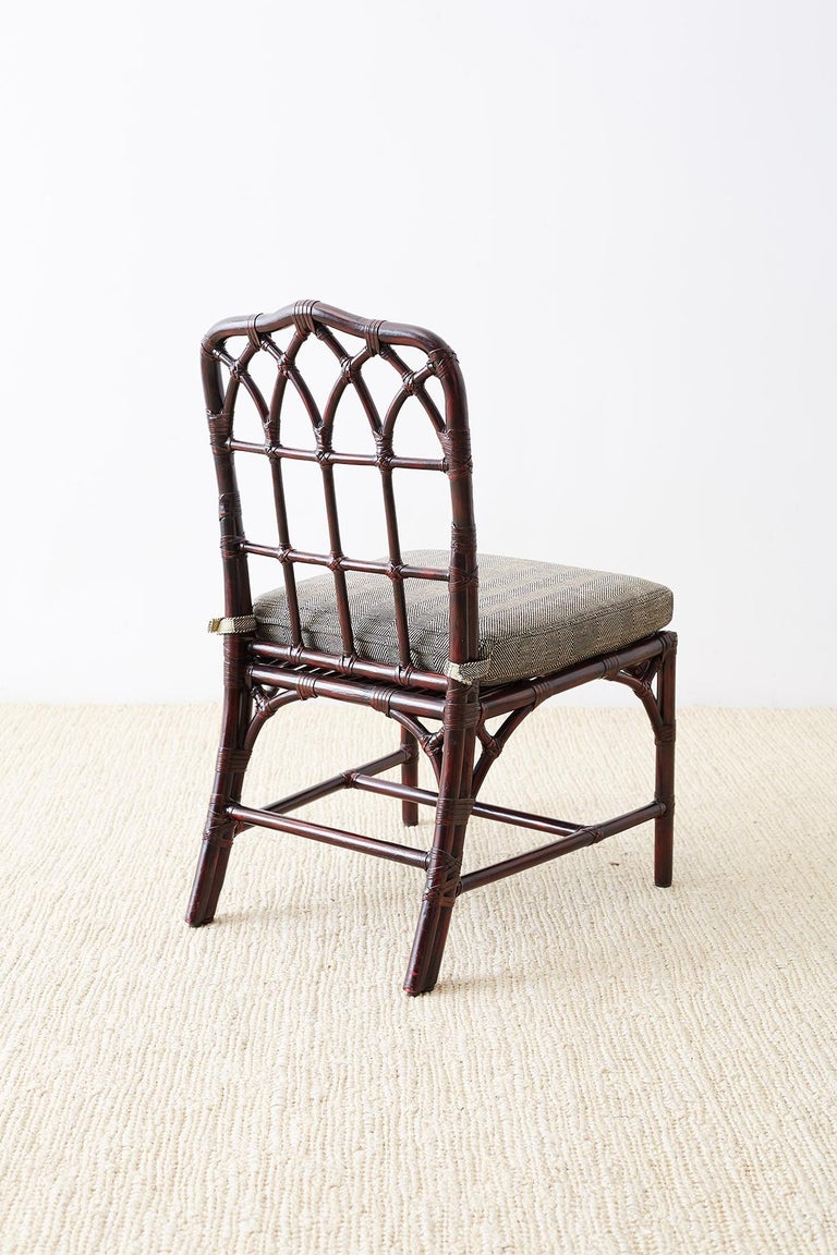 Set of Four McGuire Lacquered Bamboo Dining Chairs For Sale 6